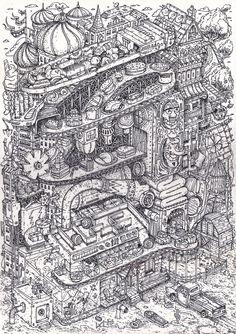 Javier Arres Sketchbook A3 Size Felt Tipped Pen
