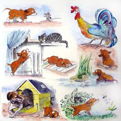 00 miau Small Stories For Kids, Story Time, Speech Therapy, Storytelling, Rooster, Illustration Art, Teaching, Painting, Animals