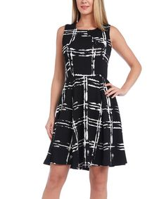 Another great find on #zulily! Black & White Plaid Fit & Flare Dress #zulilyfinds