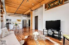 Feather Factory Lofts-2154 Dundas St W #407 | Authentic 750 sf 1 bedroom, 1 bath, post & beam loft featuring original exposed brick walls, high 11 ft factory wood ceiling & stainless steel counters! | More info here: torontolofts.ca/feather-factory-lofts-lofts-for-sale/2154-dundas-st-w-407-1 Stainless Steel Counters, Exposed Brick Walls, Post And Beam, Wood Ceilings, Lofts, Feather, Bath, The Originals, Bedroom