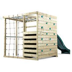 Plum Play Wooden Climbing Frame Jungle Gym w/ Slide, Outdoor play areas Kids Climbing Frame, Wooden Climbing Frame, Climbing Wall, Backyard Jungle Gym, Backyard For Kids, Sloped Backyard, Backyard Ideas, Garden Ideas