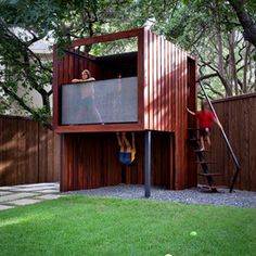 Use this as blueprint + change layout, roof & add play structure: zip line, monkey bar, climbing wall, rope, equilibrium bar, ... contemporary kids by austin outdoor design