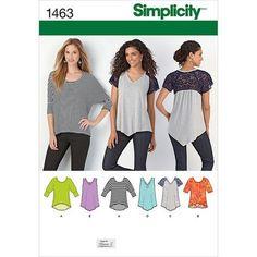 Simplicity 1463 Misses Knit Top Sewing Pattern New/Uncut Size: XXS-XXL 6 Variations Fabrics: Interlock, Jersey, Two Way Stretch, Spandex blends Diy Clothing, Sewing Clothes, Clothing Patterns, Dress Patterns, Sewing Men, Sewing Shirts, Easy Sewing Patterns, Simplicity Sewing Patterns, Knitting Patterns