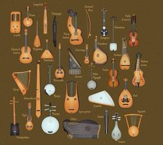 Medieval Musical Instruments Stringed instruments from Old Musical Instruments, Celtic Instruments, Children's Instruments, Indian Instruments, Genre Musical, Medieval Music, Ancient Music, Medieval Life, Homemade Instruments