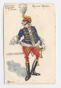 K.U. Honvéd-Husaren, Offizier in Winter-parade-uniform, c.1900 Austria, Military Uniforms, Armies, Caricatures, Wwii, Winter, Pictures, Outfits, Empire