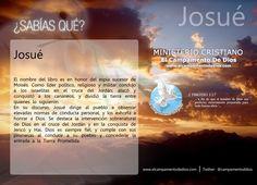 ¿SABÍAS QUÉ? Josué El nombre del libro es en honor del espía sucesor de Moisés. Como líder político, religioso y militar condujo a los israelitas en el cruce del Jordán; atacó y  conquistó a los cananeos, y dividió la tierra entre  quienes lo siguieron.