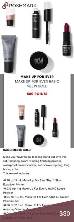 """Make Up For Ever Sephora 500 Point Reward Beauty + 500 Sephora points = $500 spent + Brand new 500 point reward from Sephora / Make Up For Ever called """"Basic Meets Bold"""" + Will ship to you on 11/1/17 + This reward includes: - 0.16 oz/ 5 mL Make Up For Ever Step 1 Skin Equalizer Primer - 0.035 oz/ 1 g Make Up For Ever Ultra HD Loose Powder - 0.04 oz/ 1.3 mL Make Up For Ever Aqua XL Colour Paint in I-50 - 0.08 oz/ 2.5 mL Make Up For Ever Excessive Lash Arresting Volume Mascara - 0.04 oz/ 1.4 g…"""