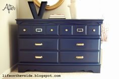 Beautiful Shade Of Blue On This Dresser Gold Pulls Reader Es September Link