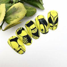 Pop Art Nails, Pastel Nails, Yellow Nails, Nail Swag, Nail Drawing, Cherry Nails, Stick On Nails, Stiletto Nail Art, Red Nail Designs