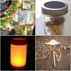 25 DIY Essentials for the Great Outdoors: Inlcudes ideas for a camping stool, fi. Camping Stool, Diy Camping, Camping Survival, Camping Meals, Camping Hacks, Camping Items, Wilderness Survival, Camping Crafts, Camping Life