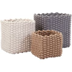 Looped Square Basket Set of 3 (510 BRL) ❤ liked on Polyvore featuring home, home decor, small item storage, decor, woven basket set and storage basket set