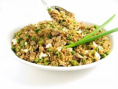 Skinny Chicken Fried Rice (low-sodium soy sauce, brown rice, & less oil) -- I will make this soon.