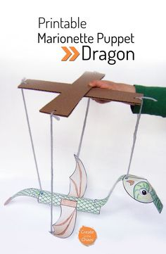 Easy printable craft for kids - Printable Dragon marionette puppet www.createinthechaos.com