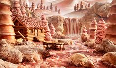 "Carl Warner ""Salami River"" - River (Parma ham). Rocks (ciabatta bread). Mountains (mortadella). Fir trees (breadstick trunks wrapped in Parma ham, speck & pancetta). Log cabin (breadstick siding & pepperoni roof)."