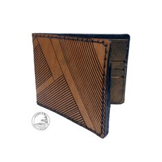 Mens Leather Tri- fold Wallet Thin Leather Wallet Laser Engraved Design Free Monogramming Personalization