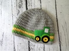 Tractor/Farming Crochet Boy Hat with Felt Tractor  by Hunky Dori Boutique