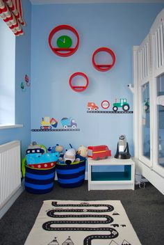 Kinderoo Childrens Interiors Little Boys Bedroom E Design Reveal Transport Theme Red Blue