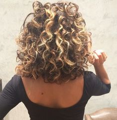back shot of women with highlighted loose curl perm hairstyle Permed Hair Medium Length, Short Permed Hair, Curly Hair Cuts, Curly Hair Styles, Perm On Medium Hair, Shoulder Length Permed Hair, Loose Curls Medium Length Hair, Spiral Perm Long Hair, Spiral Perms