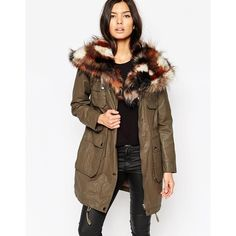 Urbancode Parka with Patchwork Faux Fur Collar (2,095 MXN) ❤ liked on Polyvore featuring outerwear, coats, khaki, parka coat, brown parka, khaki parka, brown coat and urbancode