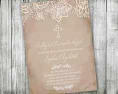 First Communion Invitations Pink Vintage Lace by VGInvites