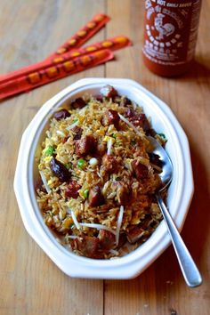 Classic Pork Fried Rice, by thewoksoflife.com Used broccoli and red onion for vegetables and pork steaks for meat.