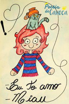 Não tem amor maior que deixar um gato fofinho na sua cabeça... #ilustração #poesia #poesiadecaneca #gato #cute