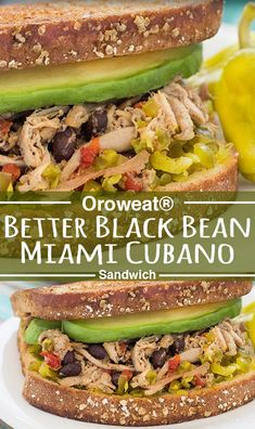 An easy sandwich that's sure to leave you feeling fuller than that PB&J. Cubano Sandwich, Cheat Meal, Lunch Time, Black Beans, Soups, Main Dishes, Salads, Sandwiches, Food And Drink