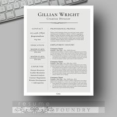Resume Template For Word With Cover Letter Instant Download