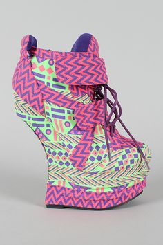 Privileged Harkins Printed Lace Up Heel Less Curved Wedge Sneaker $99