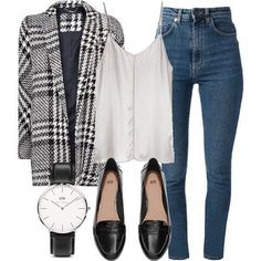 A fashion look from April 2015 featuring MANGO coats, Yves Saint Laurent jeans and Ian R. Browse and shop related looks. Mode Outfits, Fall Outfits, Casual Outfits, Fashion Outfits, Girly Outfits, Work Fashion, Fashion Looks, Office Fashion, Daily Fashion