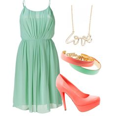 mint and coral, created by tishapol on Polyvore