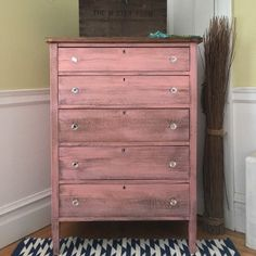 This vintage tall oak chest is painted in custom mixed coral with a...