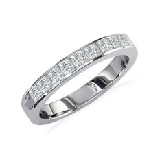 1/2ct Princess Diamond Channel Set Band, 14k White Gold