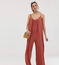 7e78c5cb941 Asos Tall ASOS DESIGN Tall low back jumpsuit in crinkle