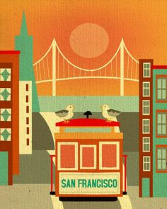 8 x 10 vertical San Francisco skyline, for Lofts, Offices, Gifts, Nursery, Children rooms style E8-O-SF19