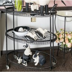 This Lococo 3-Tier Rolling Bar Cart is ideal for storage or display. Oval tray shelves are open and spacious making it practical for use in a laundry room, powder room, or even as a bar cart.