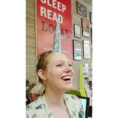 We got a promotional package today for the adorable new picture book from Amy Krouse Rosenthal (Uni the Unicorn: A Story About Believing) with make-your-own unicorn horns. Stop by and maybe you can share the love and magic with bookseller, Erin.