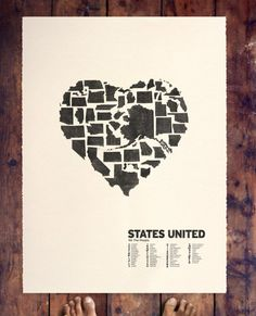 Etsy art of States-- A could reproduce with cute outs from silhouette. Wonder if they are still to scale.
