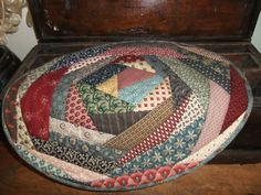 Primitive Oval Crazy Quilted Table Topper   by TreasuredPrimitives