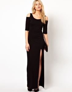 Love Maxi Dress With Cold Shoulder and Thigh Split  $49.25