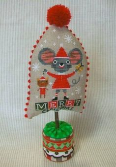 mouse, Christmas, cat, cute cross stitch pattern