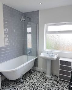 Our Metro ranges give you the opportunity to create an elegant and contemporary finish using these brickwork style tiles. Available in a fan. Contemporary Bathroom Designs, Bathroom Design Small, Bathroom Interior Design, Modern Bathroom, Condo Bathroom, Bathroom Windows, Interior Modern, Budget Bathroom Remodel, Victorian Bathroom