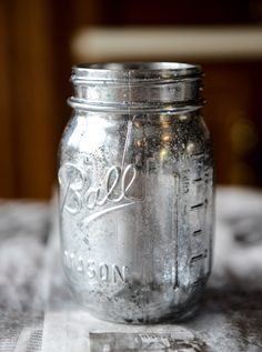 DIY vintage mirror metallic Mason jars.