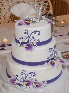 Purple Flowers Quinceanera Cake
