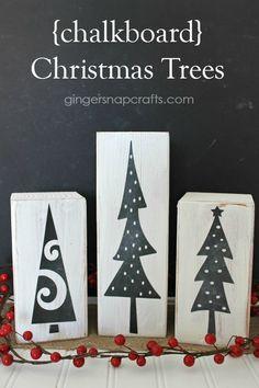 Chalkboard DIY Christmas trees (trees cut with Silhouette)  - Mod Podge Rocks