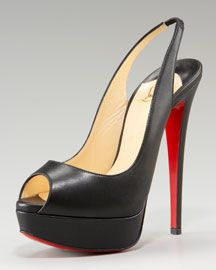 Click each picture to select                   Christian Louboutin Lady Peep-Toe Slingback Pump