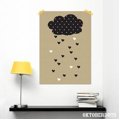 Cute poster with a cloud and hearts raining from it by Oktoberdots Rain Illustration, Graphic Illustration, Diaper Parties, Rain Shower, Baby Kind, Baby Room, Little Girls, Diy And Crafts, Kids Room