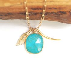 Kalia necklace - turquoise gold tribal necklace, turquoise boho charm necklace, gold pendant necklace, feather, spear, horn, hawaii necklac on Etsy, $139.00