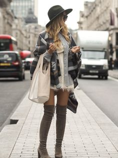 justthedesign: Pair a blanket coat with over the knee boots and a wide brimmed hat for casual sophistication. Via Lene Orvik. Shoes: Stuart Weitzman, Poncho & Hat: Miss Selfridge.
