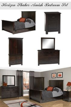 Discover Horizon Shaker Amish Bedroom Set, minimally detailed in Shaker style with sleek, modern lines. Browse an Amish bed, Amish dresser and more. Amish Furniture, Solid Wood Furniture, Classic Furniture, Fine Furniture, Bedroom Furniture Sets, Bedroom Decor, Classic Home Decor, Under Bed Storage, Dresser With Mirror